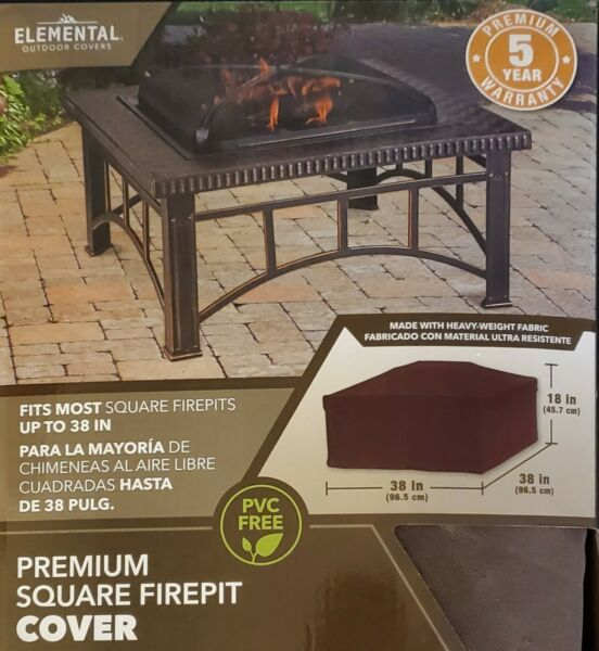 Elemental Outdoor Covers Premium Square Firepit Cover 38quot;x 38quot;x18quot; Brand New $12.99