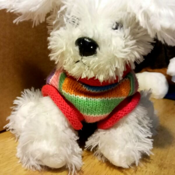 Children#x27;s Place Plush Dog with Striped Sweater Westy Terrier Stuffed Animal 10quot; $12.99