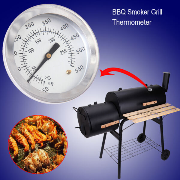 Stainless Steel Thermometer BBQ Smoker Grill Gauge Barbecue Pit Temperature Tool