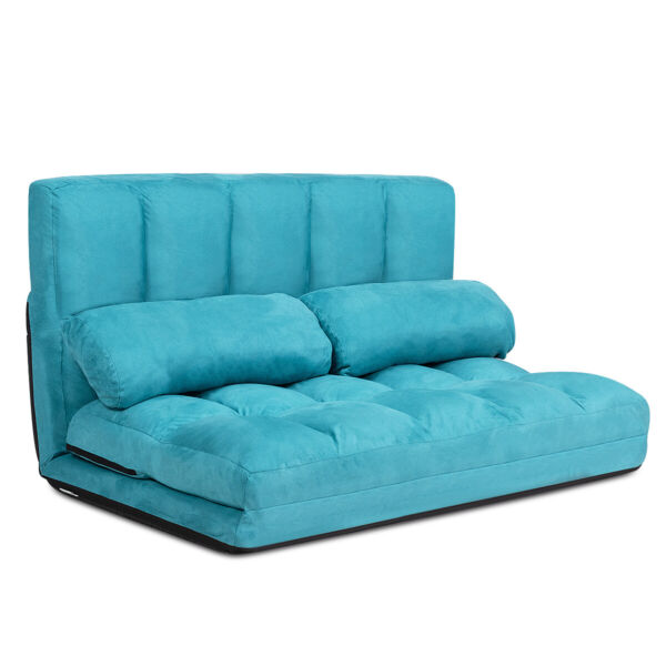 Foldable Floor Sofa Bed 6 Position Adjustable Lounge Couch with 2 Pillows Blue