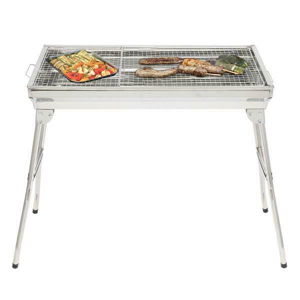 Portable BBQ Barbecue Charcoal Grill Stainless Steel Foldable Backyard Cooker