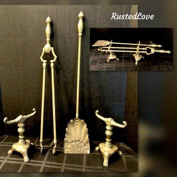 Old Fireplace Tools Solid Brass with Stands English Lion Footed 4 Pc Set