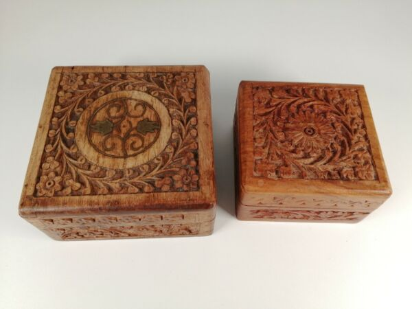 VINTAGE CARVED WOODEN BOXES WITH INLAY amp; HINGED LIDS
