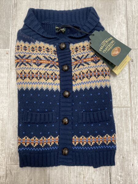 TELLURIDE Navy amp; Tan Heavy Fleece Lined SWEATER Puppy Dog MEDIUM $24.50