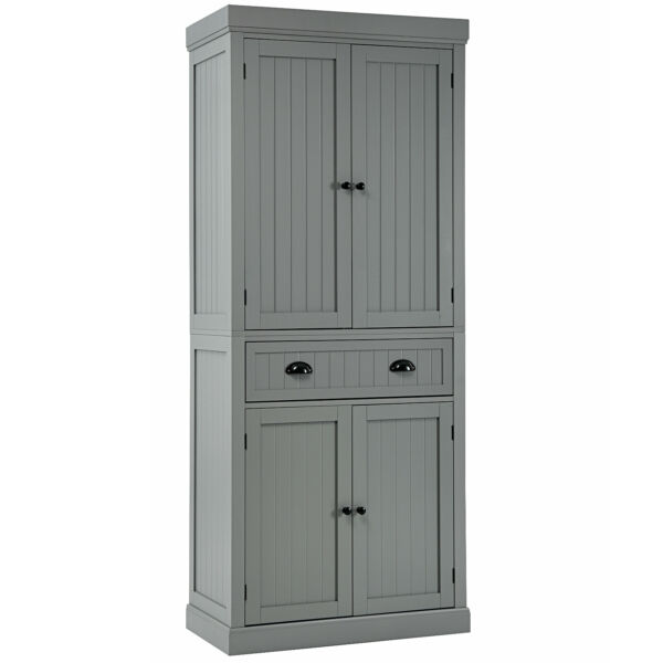 Bestcomfort Kitchen Cabinet Pantry Cupboard Freestanding w Shelves Grey