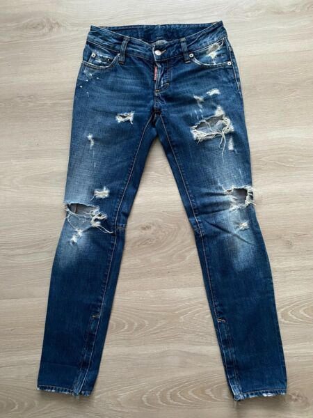 DSQUARED2 DISTRESSED WOMEN#x27;S SKINNY DENIM BLUE ANKLE ZIP JEANS IT 38 UK 6 GBP 70.00