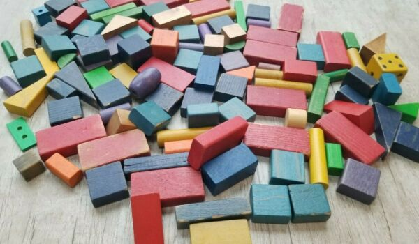 115 Pc Vintage Worn Aged Colorful Geometric Shapes Toy Play Building Wood Blocks