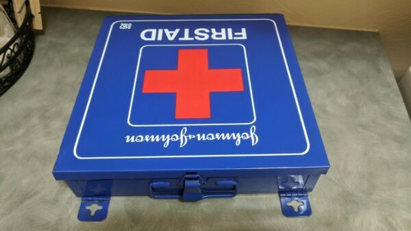 Vintage Johnson and Johnson First Aid Kit Metal Box 8161.