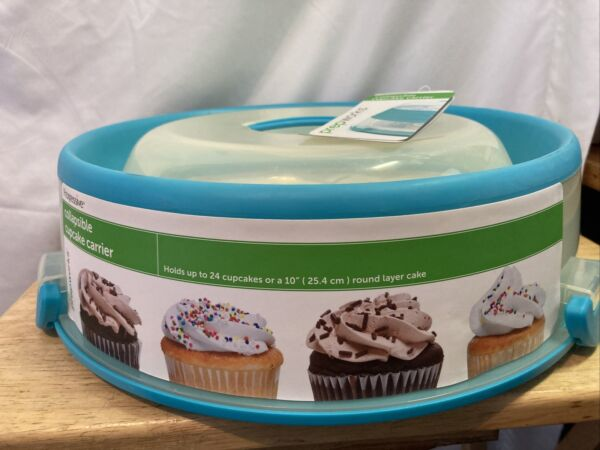 "Prepworks Collapsible Cupcake Carrier. 24 Cupcakes 10"" Layer Cake. S2"