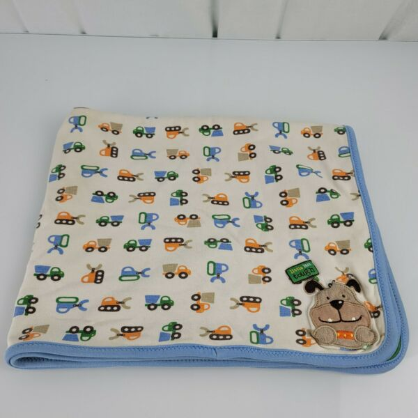 Carters Just One Year Baby Blanket Little but Tough Dog Tractor Blue Green lovey $28.99