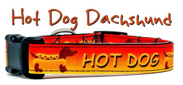 Hot Dog Dachshunds dog collar handmade adjustable buckle 5 8quot; wide or leash $9.95