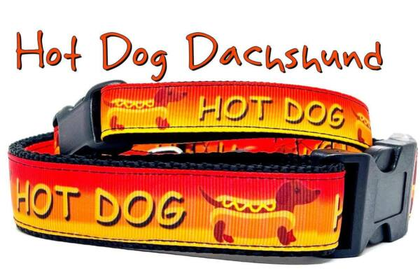 Hot Dog Dachshunds dog collar handmade adjustable buckle 1quot;or 5 8quot;wide or leash $26.00