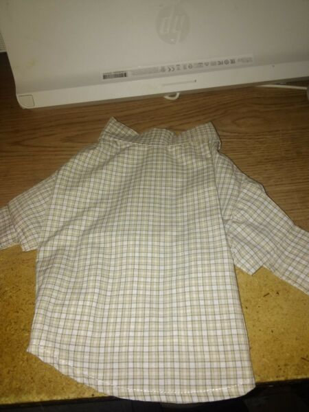 UNBRANDED DOG PLAID SHIRT BROWN BEIGE SIZE XS $3.75