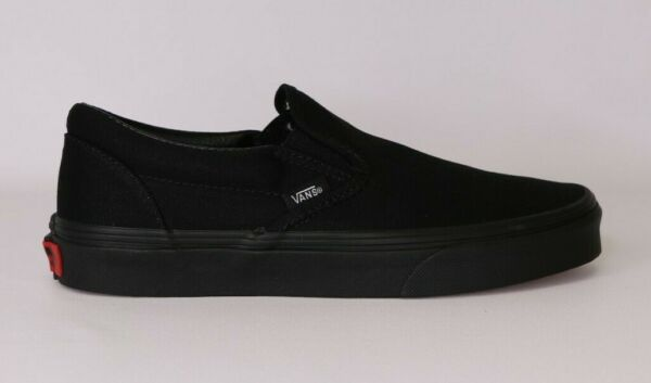 Vans Slip On Black Black Canvas Classic Shoes All Size Fast Shipping