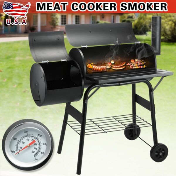 Outdoor Pit Patio Smoker Grill BBQ Backyard Firepit Meat Cooker For Family Party