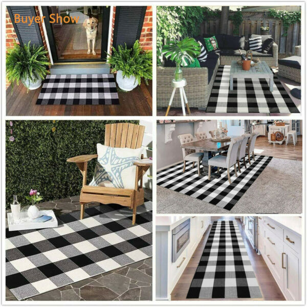 EARTHALL Buffalo Plaid Rug Black amp; White Cotton Rug Washable Indoor Outdoor Mats