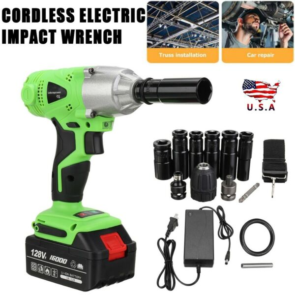 1 2#x27;#x27; Electric Brushless Cordless Impact Wrench High Torque Tool w Battery Box