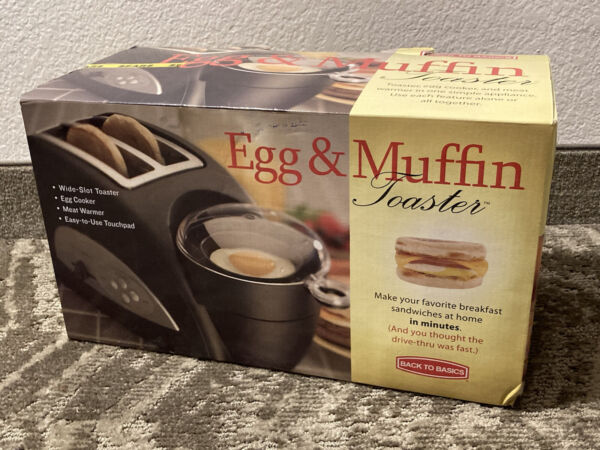 BACK TO BASICS EGG amp; MUFFIN 2 SLICE BLACK TOASTER BRAND NEW IN BOX ELECTRIC