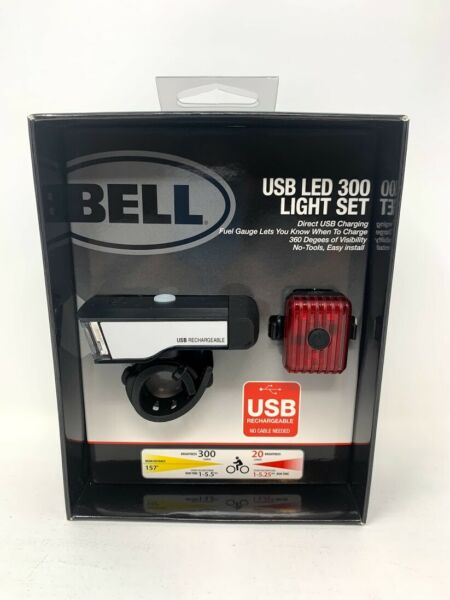 Bell 300 Lumen USB Rechargeable Bicycle Light Set Steady High Low Strobe NEW $19.99