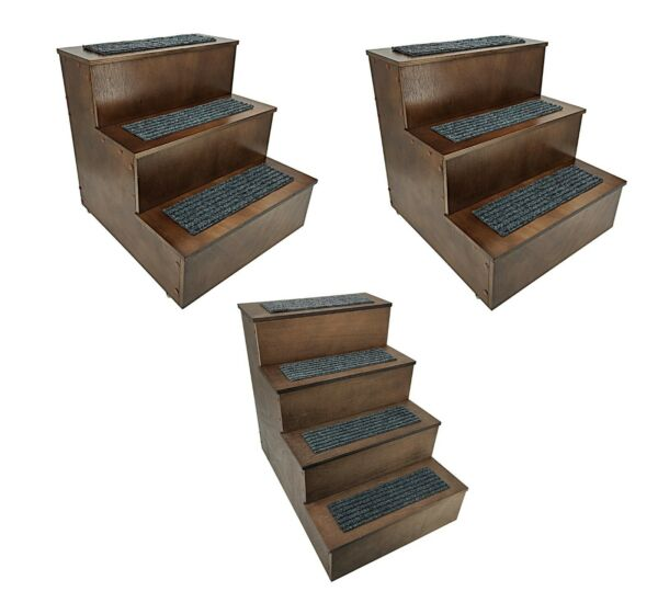 Deluxe Wood Cat Stairs Dog Step Ladder Pet Stairs 3 or 4 Steps Stairs Access Bed