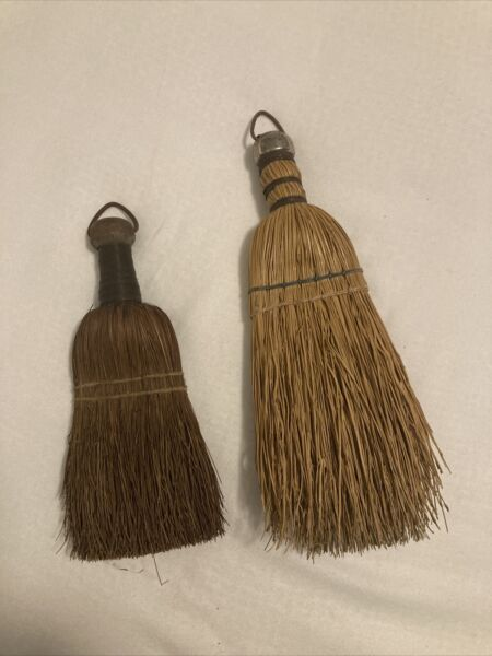 Lot of 2 Small Antique Primitive Hand Whisk Brooms