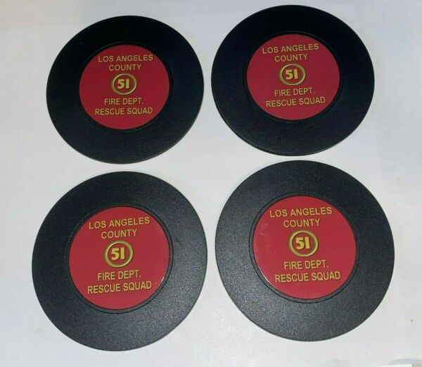 Squad 51 Emergency Firefighter Fire set of 4 round foam backed coaster set