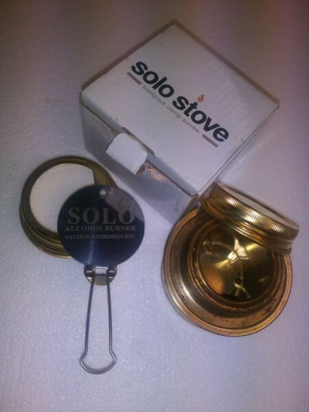 Brass Alcohol Stove. Backpack Burner Stove with Flame Regulator Lid and Cap