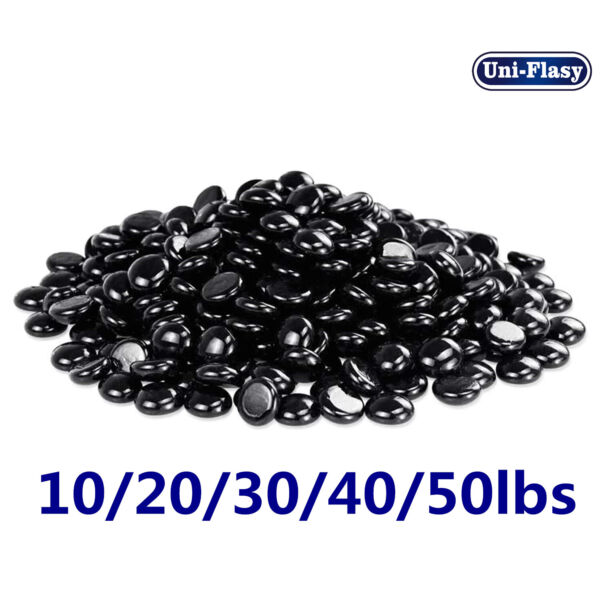 Black Fire Pit Glass 1 2 Inch Round Glass Rocks for Natural or Propane Fireplace