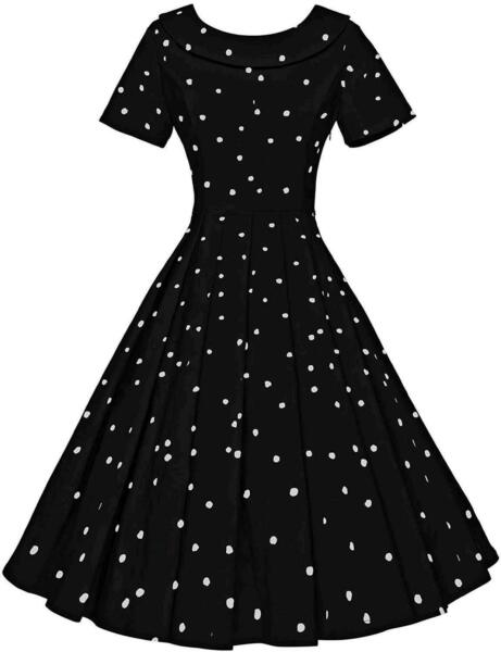 GownTown Women#x27;s 1950s Polka Dot Vintage Dresses Audrey Black Dot Size Large