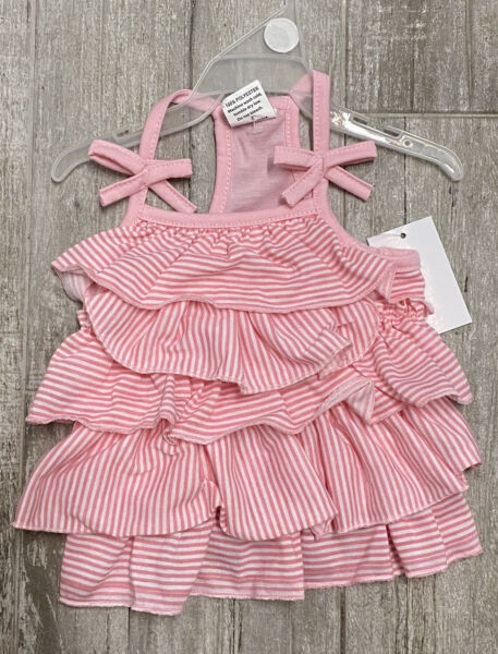 PET SPIRIT Pink Stripe LAYERED RUFFLE Summer Dress Puppy Dog medium $16.50