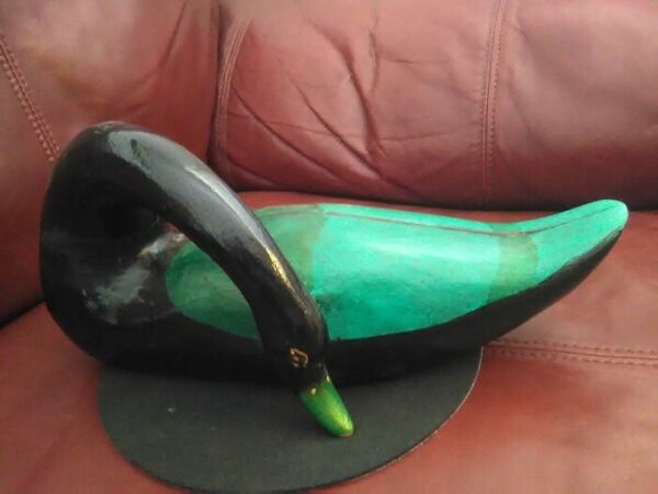 Vtg Large Wood Hand Carved Swan Decoy Hand painted
