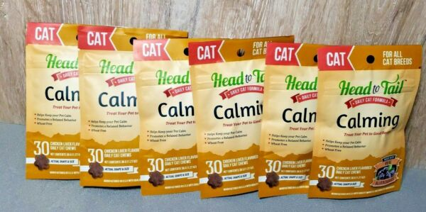 Lot Of 6 Head To tail Daily Cat Calming Chews For All Breeds Chicken Flavor 30ct $30.00