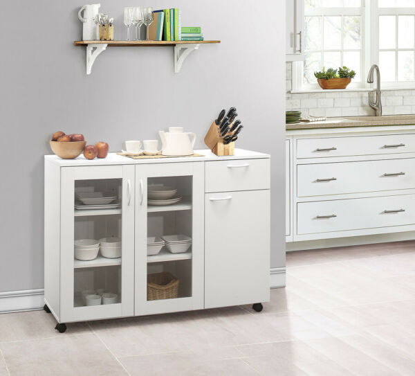 Kings Brand Furniture Buffet Server Sideboard Kitchen Storage Cabinet White