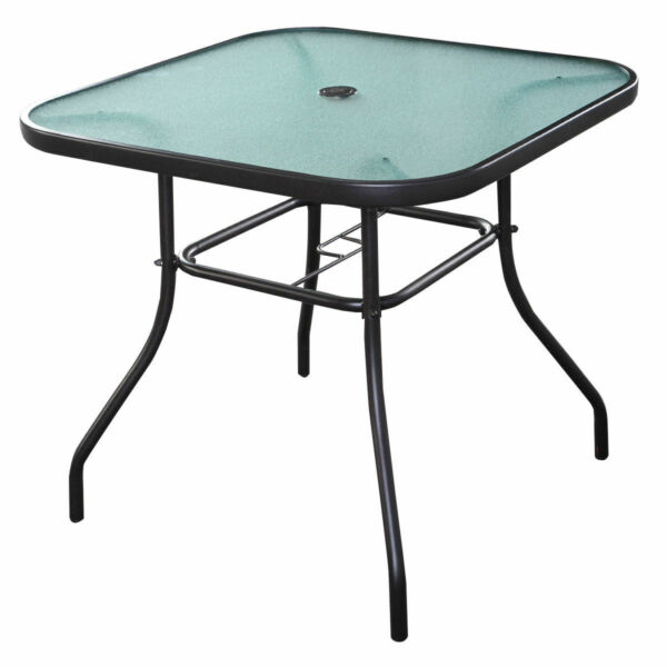 32 1 2quot; Patio Square Bar Dining Table Glass Deck Outdoor Furniture Garden Pool $215.99