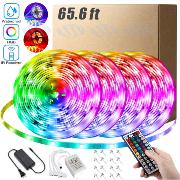 66FT Flexible 3528 RGB LED Strip Light Remote Fairy Light Room Party Waterproof $36.99