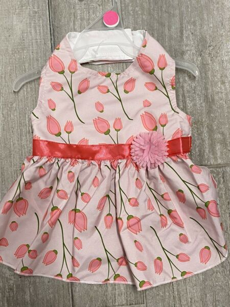 PET SPIRIT Pink quot;ROSE BUDSquot; Summer Halter Dress Puppy Dog MEDIUM $16.50