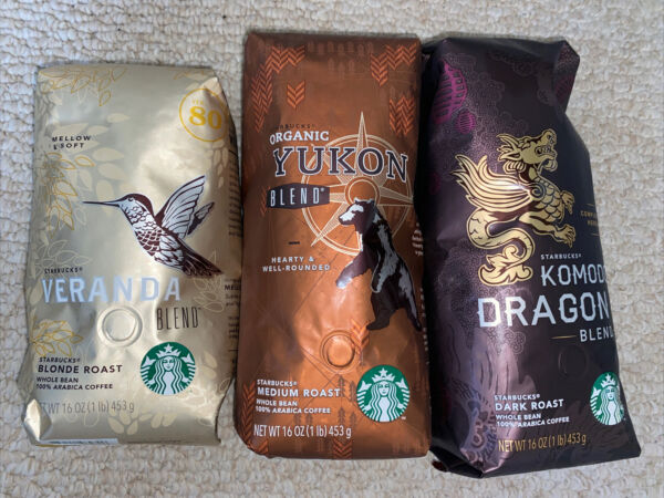 Starbucks Roast Collection 3 Whole Bean 1 Lb. Bags