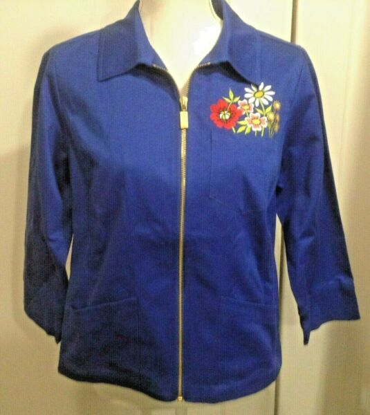 NWT Bob Mackie Wearable Art Small Blue Jacket Zip 3 4 Sleeves Floral Embroidery