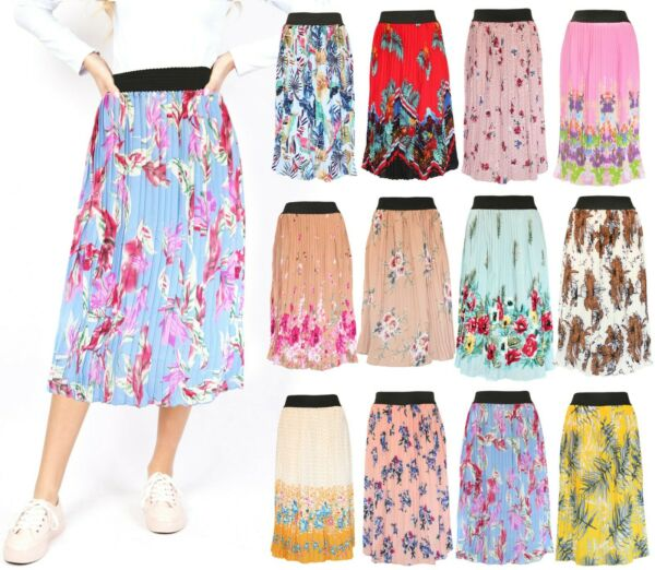 Floral Women#x27;s Printed Pleated Summer Midi Skirt