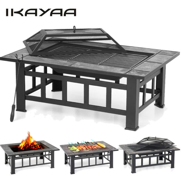 37quot; iKayaa Backyard Fire Pit Heate Wood Burning Patio Deck Stove Fireplace G4V2