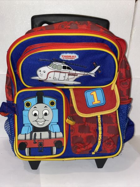 Thomas The Train rolling overnight bag toy carrier rolling backpack GENTLY USED $17.00