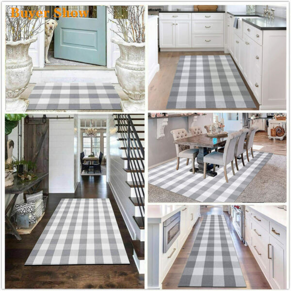 Buffalo Plaid Grey amp; White Area Rug Hand Woven Washable Rug Indoor Outdoor Mats