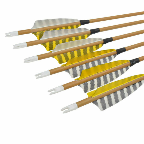 30quot; Feather Carbon Arrows Wooden Skin Spine 500 Traditional Bow Shooting 6 12pcs $39.99