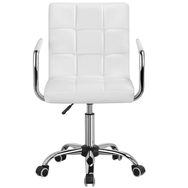 Office Chair Height Adjustable Mid Back PU Leather 360° Swivel Chair Rollers