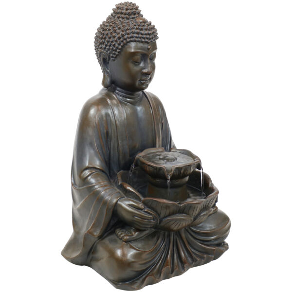 Sunnydaze Peaceful Buddha Electric Outdoor Garden Water Fountain 18 Inch