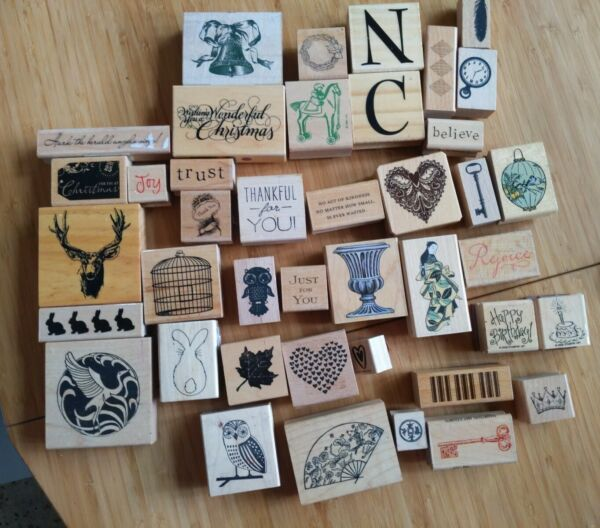 Large Wood Rubber Stamp Collection Lot 41 Pieces .