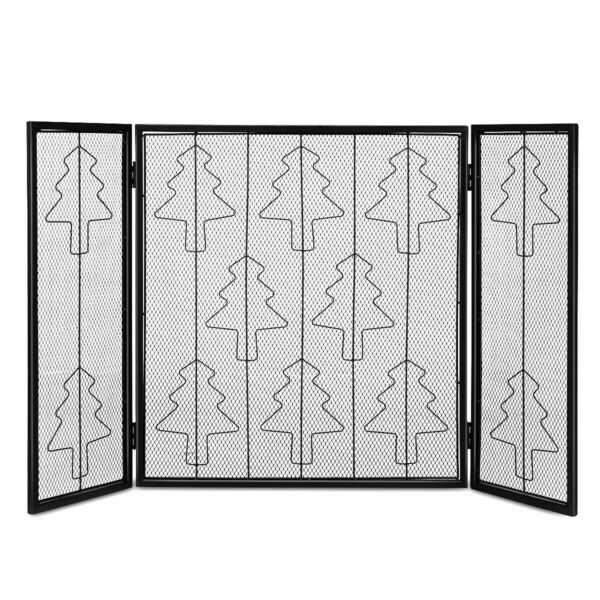 Folding 3 Panel Steel Fireplace Screen Doors Heavy Duty Christmas Tree Decor