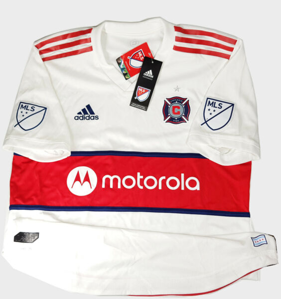 Adidas MLS Chicago Fire Away Men#x27;s Jersey White Red