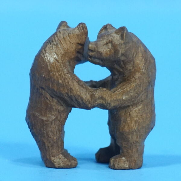 1.5quot; Antique Swiss Black Forest Carved TWIN DANCING BEARS Brienz c1920 Rare