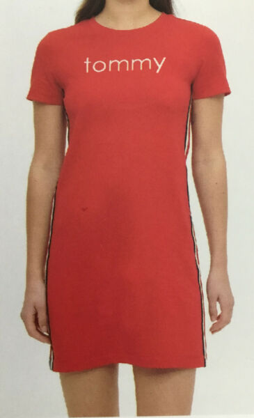 Tommy Hilfiger Size Large NWT Women Red Tommy Logo T Shirt Dress L New $24.99